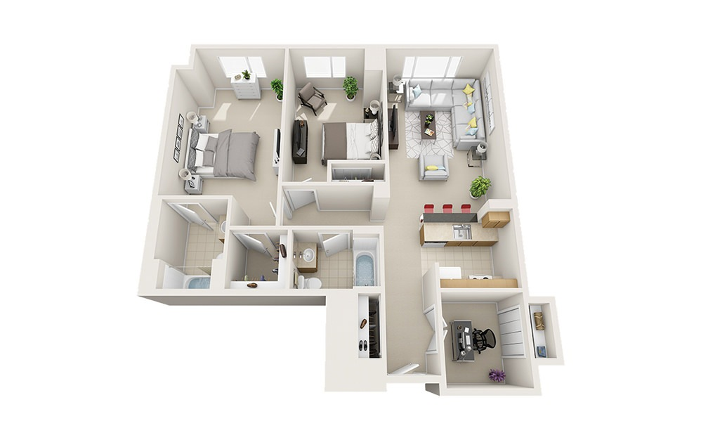 Beachwood - 2 bedroom floorplan layout with 2 baths and 1169 square feet.