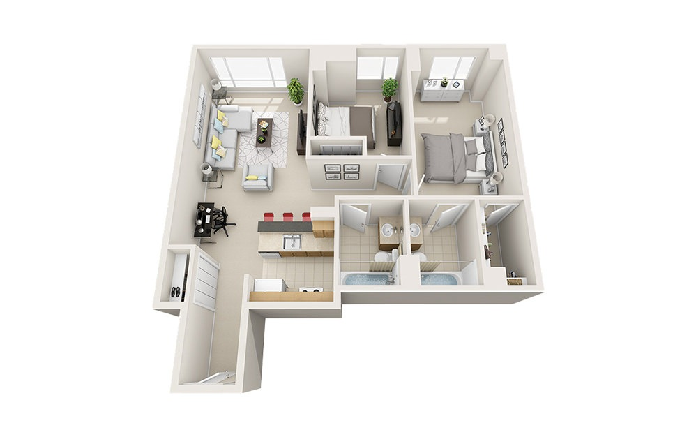 Beacon - 2 bedroom floorplan layout with 2 baths and 958 to 1055 square feet.