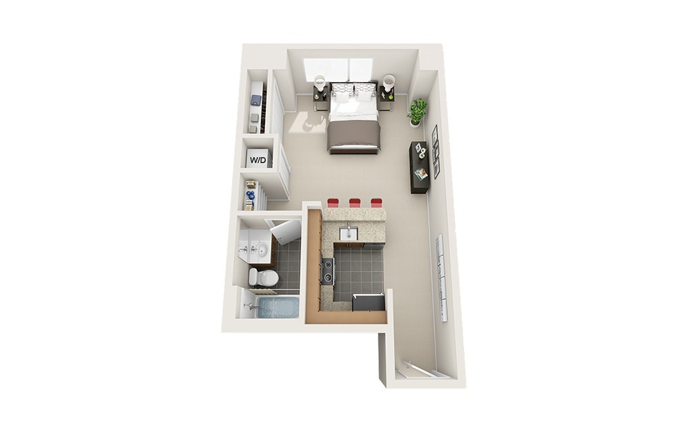 Centerboard - Studio floorplan layout with 1 bath and 476 square feet.