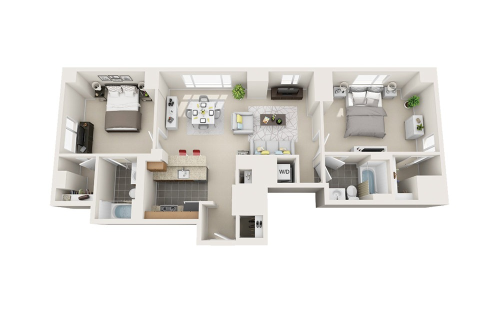 Clipper - 2 bedroom floorplan layout with 2 baths and 1070 square feet.