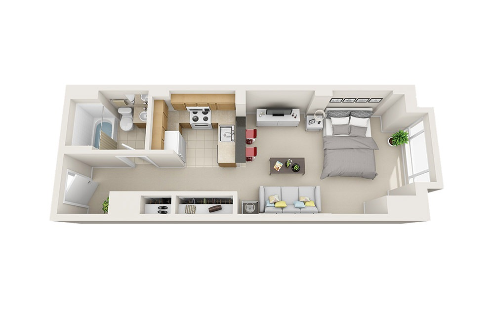 Crab Shell - Studio floorplan layout with 1 bath and 481 square feet.