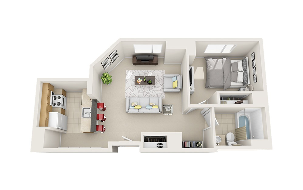 Cubby - 1 bedroom floorplan layout with 1 bath and 660 square feet.