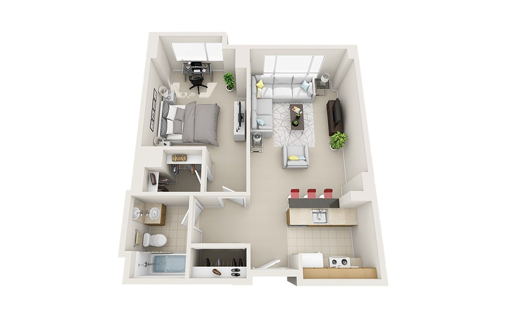 Current - 1 bedroom floorplan layout with 1 bath and 650 to 744 square feet.