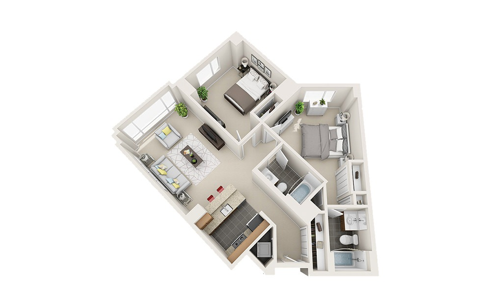 Dory - 2 bedroom floorplan layout with 2 baths and 985 to 1097 square feet.