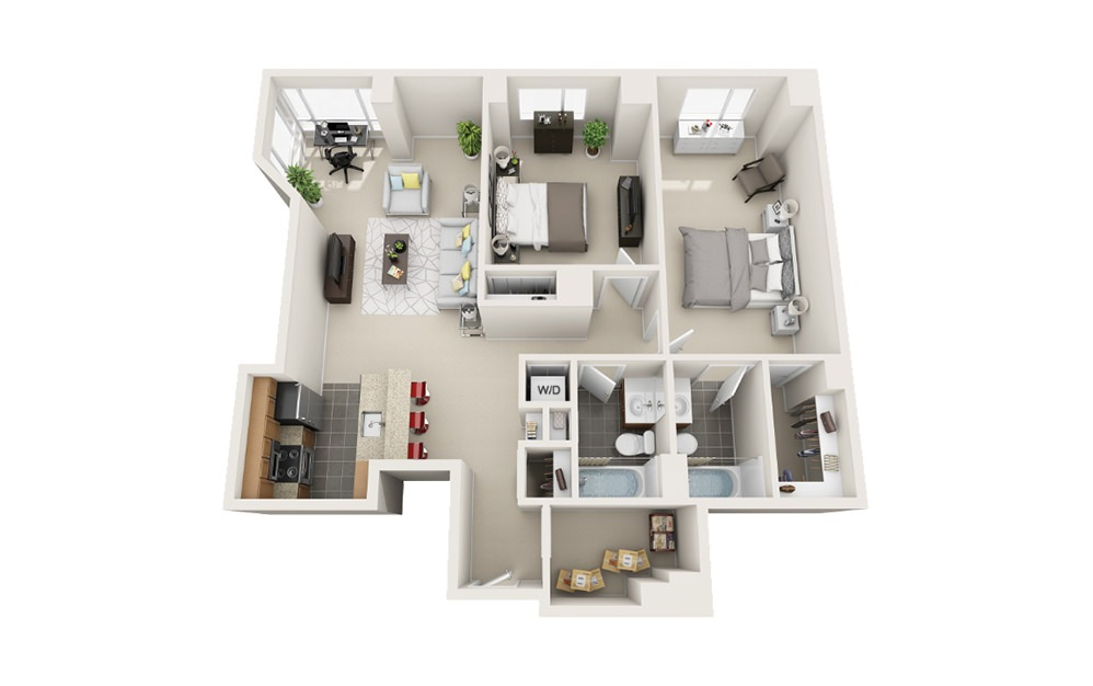 Ferry - 2 bedroom floorplan layout with 2 baths and 1205 to 1210 square feet.