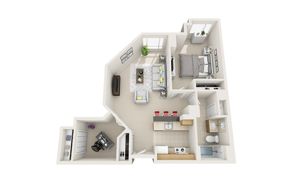 Island - 1 bedroom floorplan layout with 1 bath and 809 to 863 square feet.