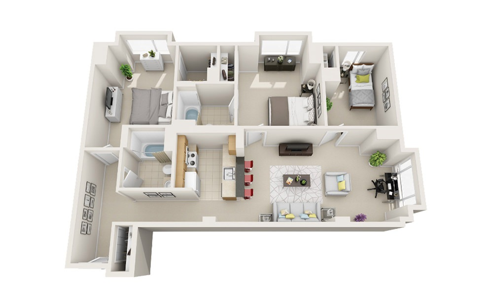 Jetty - 3 bedroom floorplan layout with 2 baths and 1233 square feet.