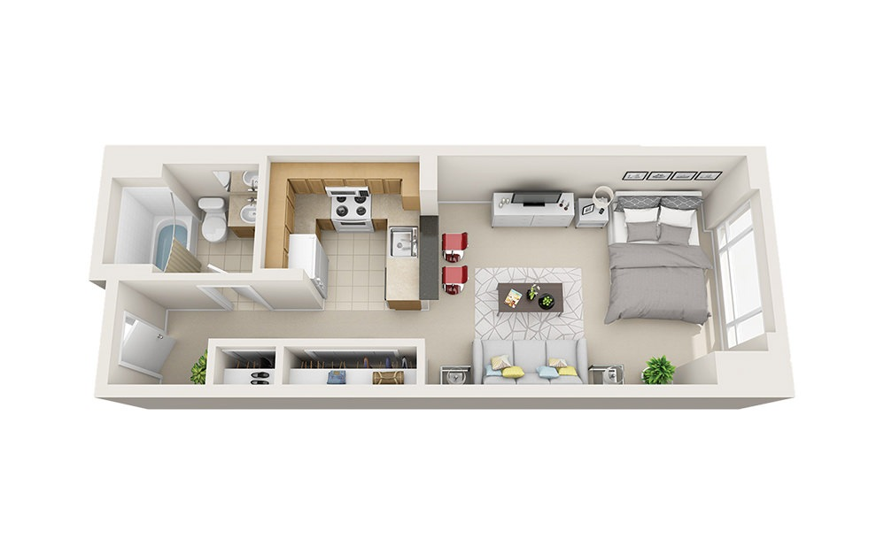 Lobster - Studio floorplan layout with 1 bath and 425 to 489 square feet.