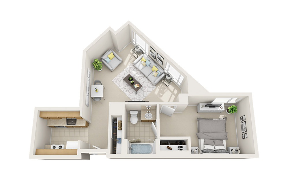 Port - 1 bedroom floorplan layout with 1 bath and 652 to 666 square feet.