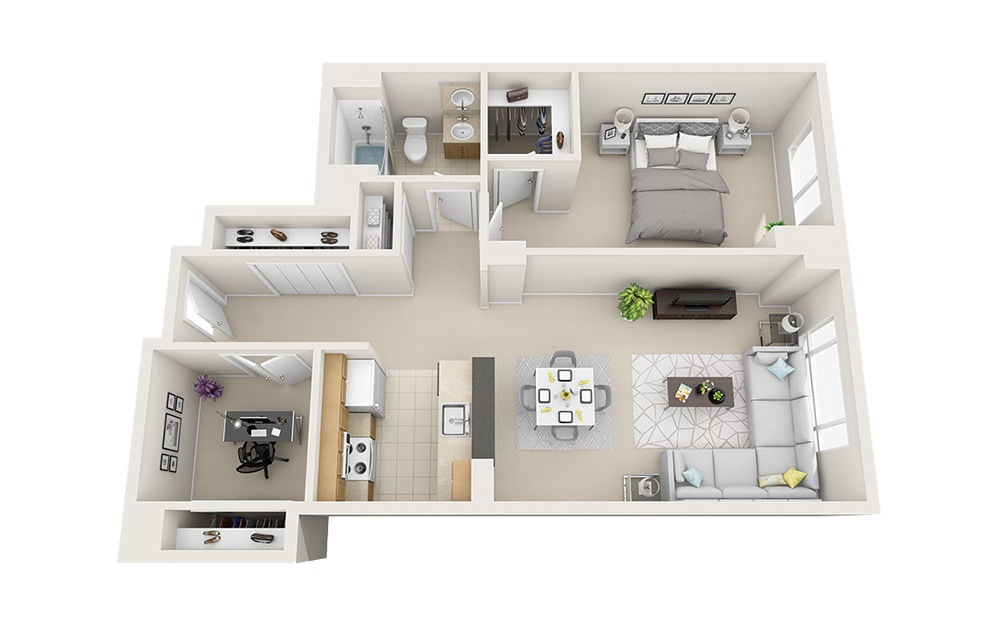Quarterdeck - 1 bedroom floorplan layout with 1 bath and 849 to 984 square feet.