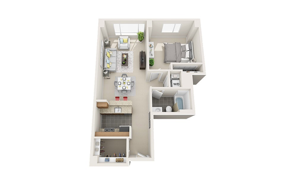 Race Point Light - 1 bedroom floorplan layout with 1 bath and 756 to 766 square feet.
