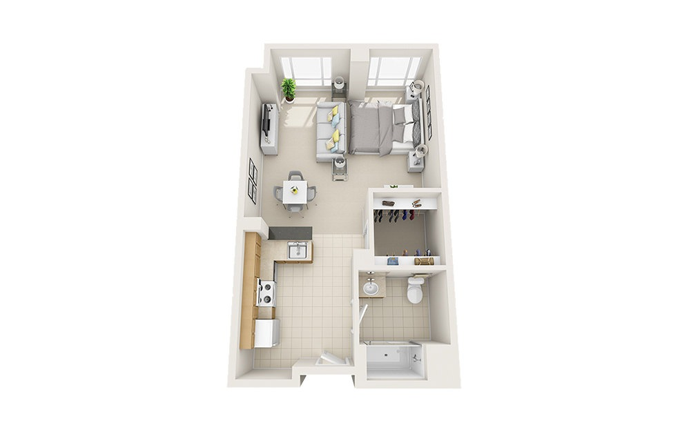 Scallop - Studio floorplan layout with 1 bath and 586 to 601 square feet.