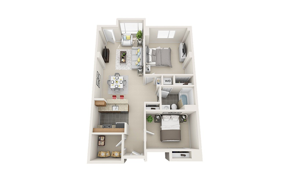 Schooner - 1 bedroom floorplan layout with 1 bath and 900 to 950 square feet.