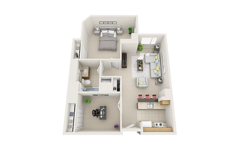 Ship - 1 bedroom floorplan layout with 1 bath and 867 square feet.