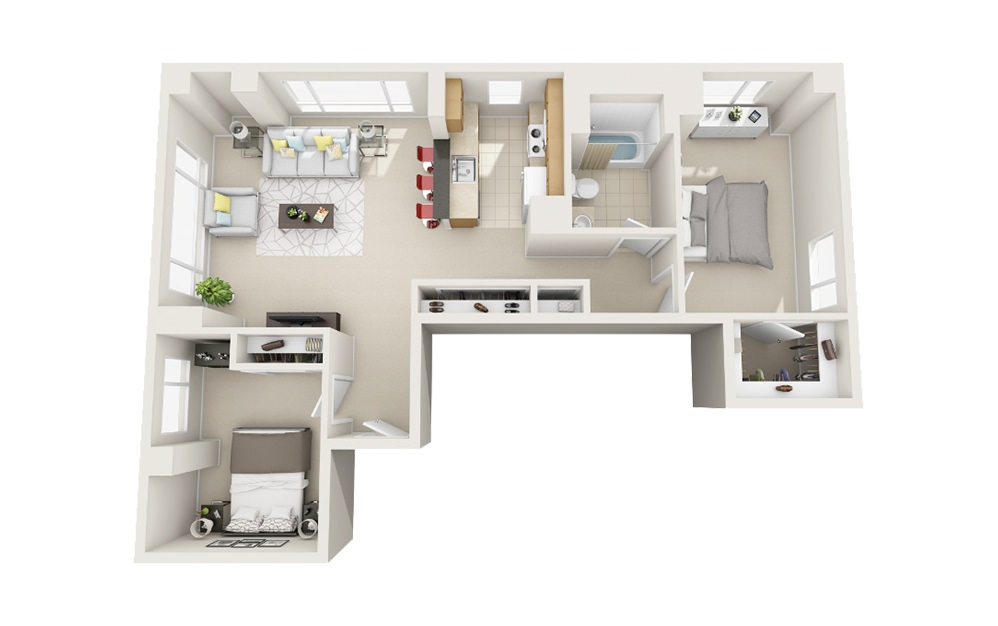 Shoreline - 2 bedroom floorplan layout with 1 bath and 1018 square feet.