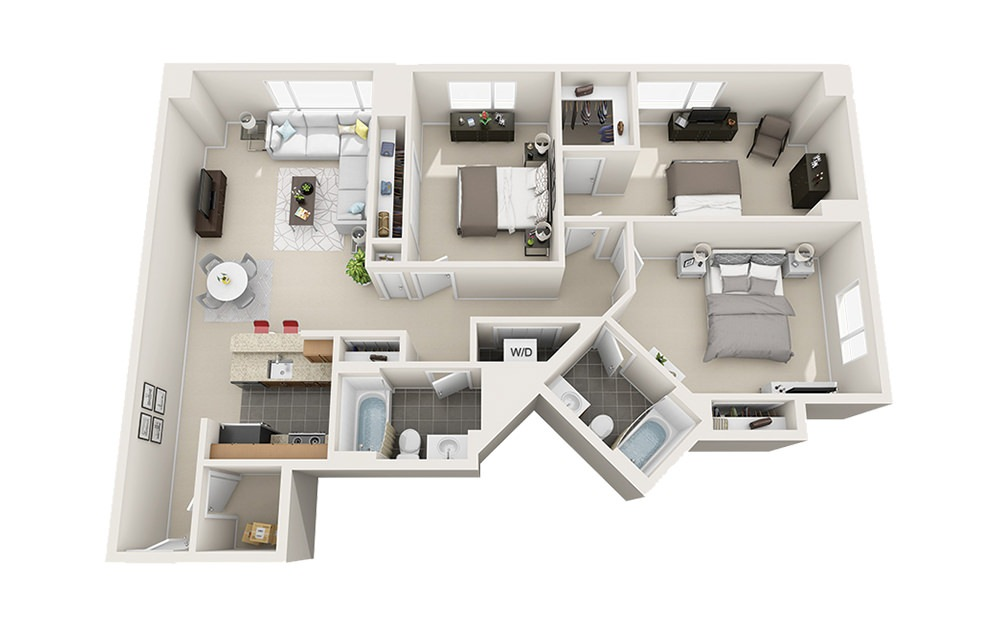 Spinnaker - 3 bedroom floorplan layout with 2 baths and 1290 to 1444 square feet.