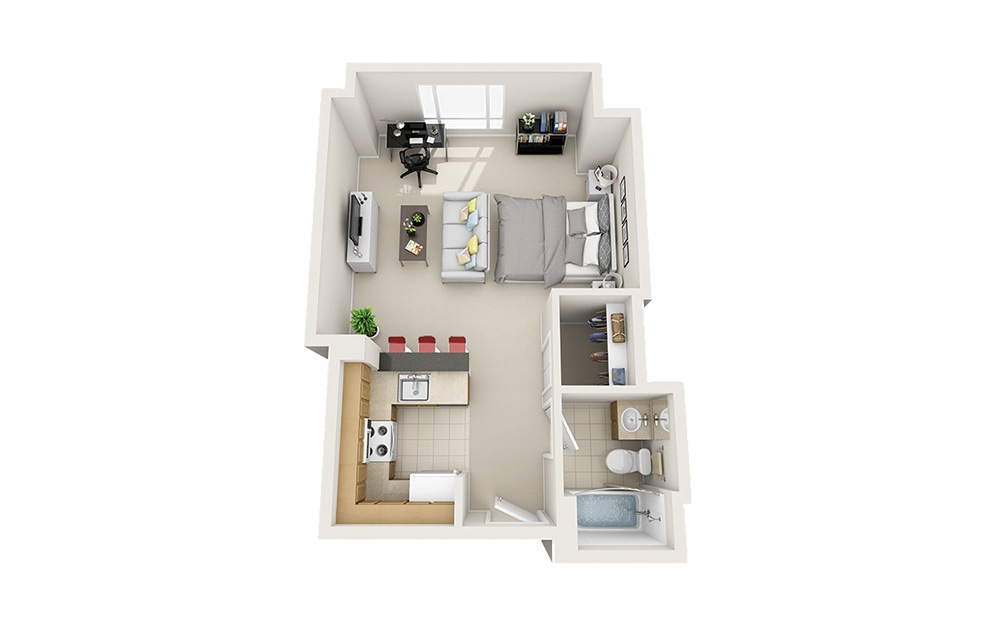 Starfish - Studio floorplan layout with 1 bath and 525 to 533 square feet.