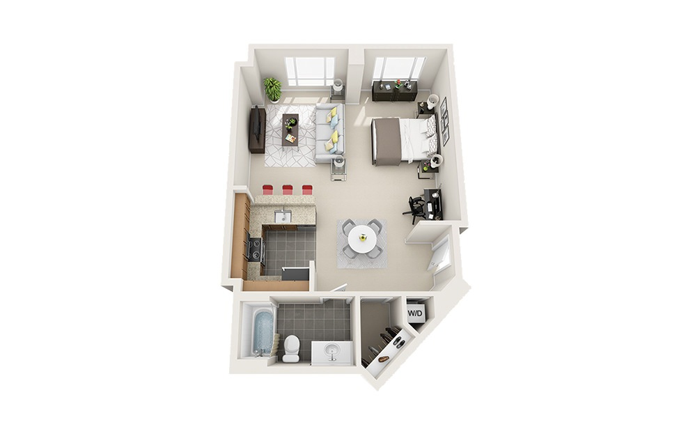 Stern - Studio floorplan layout with 1 bath and 680 square feet.