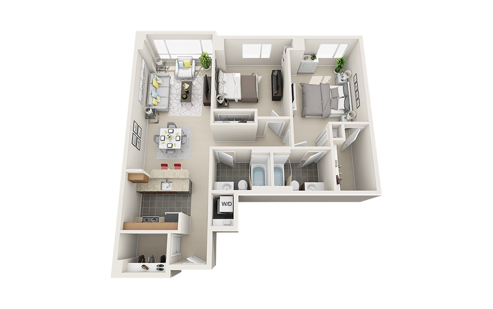 Trawler - 2 bedroom floorplan layout with 2 baths and 1060 to 1070 square feet.