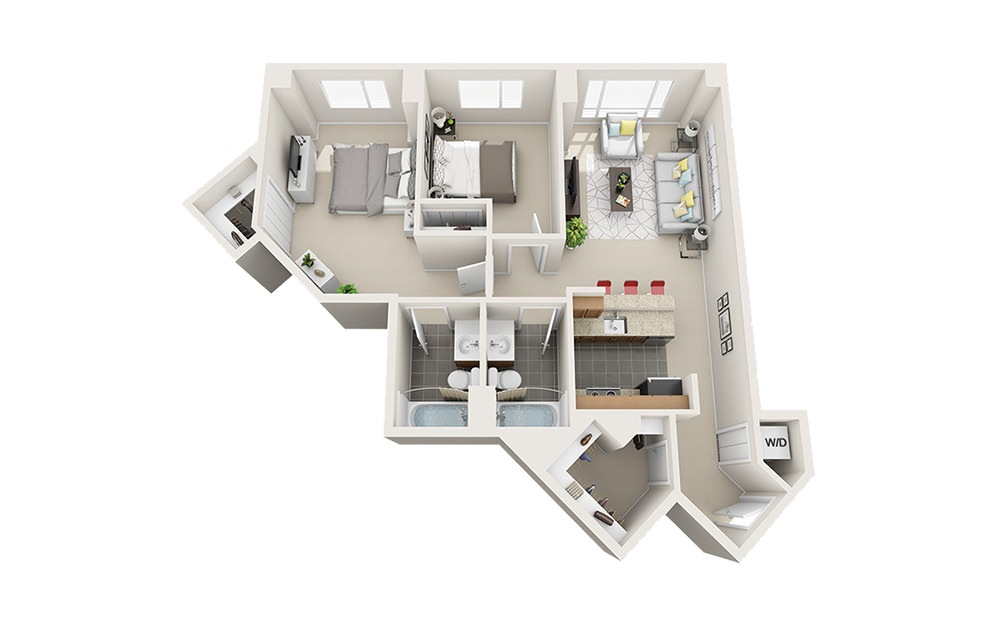 Windjammer - 2 bedroom floorplan layout with 2 baths and 952 to 990 square feet.