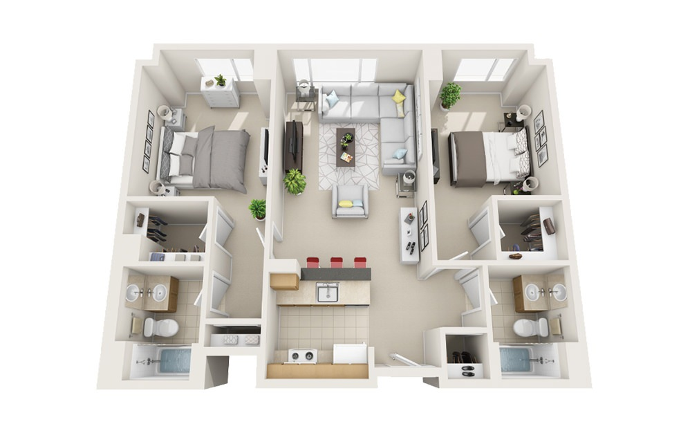 Yacht - 2 bedroom floorplan layout with 2 baths and 1008 to 1025 square feet.